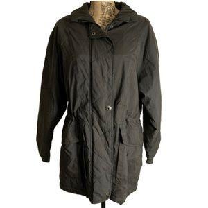 London Fog charcoal grey puffer zip up jacket